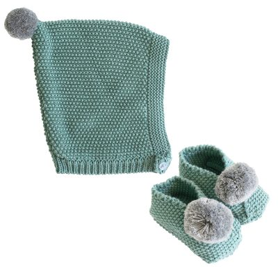 ALIMROSE // Sage and Grey Pom Pom Hat and Booties Set