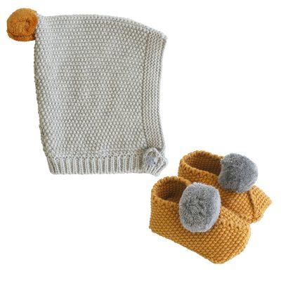 ALIMROSE // Mustard and Grey Pom Pom Hat and Booties Set
