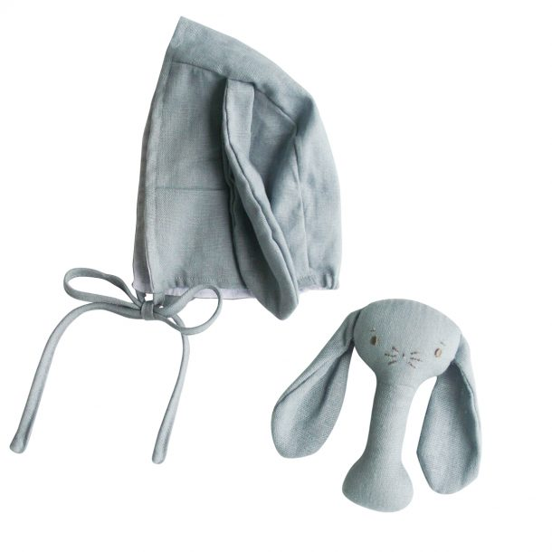 ALIMROSE Grey Bobby Bunny Bonnet and Rattle Set