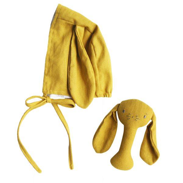 ALIMROSE Mustard Bobby Bunny Bonnet and Rattle Set