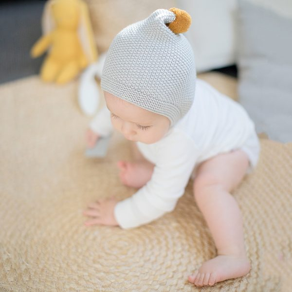 ALIMROSE Mustard and Grey Pom Pom Hat and Booties Set