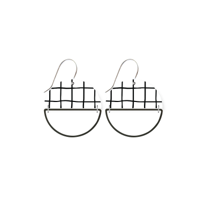 MOE MOE Jewellery Grid Hollow Moon Earrings