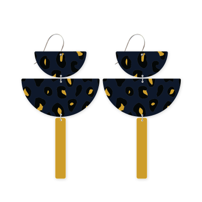 MOE MOE Jewellery Navy Animal Print Chandelier Earrings