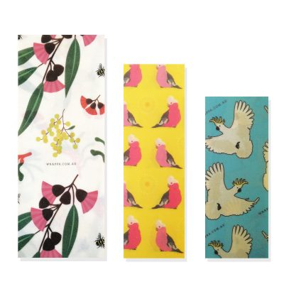 wrappa Plant Based Organic Cotton Birds and Bees Wraps (3 Pack) singles