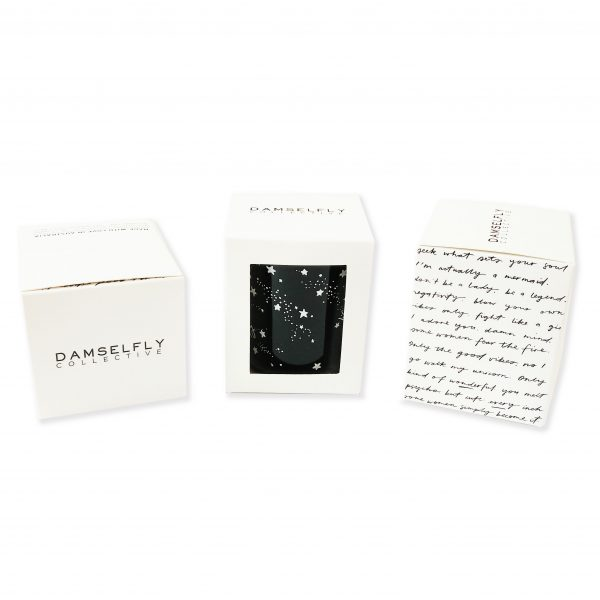 Black Fly Damsel Fly Mini Candle with packaging