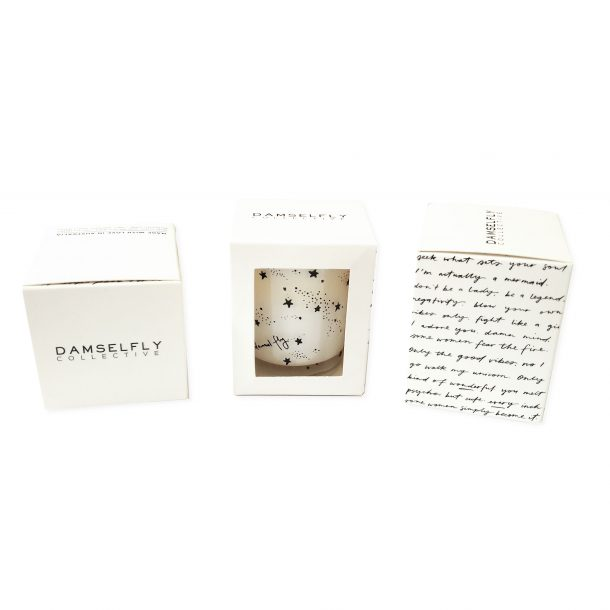 White Fly Damsel Fly Mini Candle with packaging