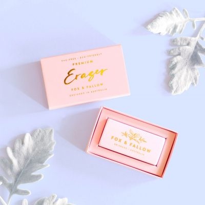 Fox and Fallow eraser in packaging