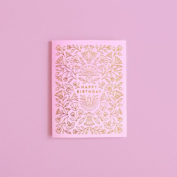 gold and pink happy birthday card