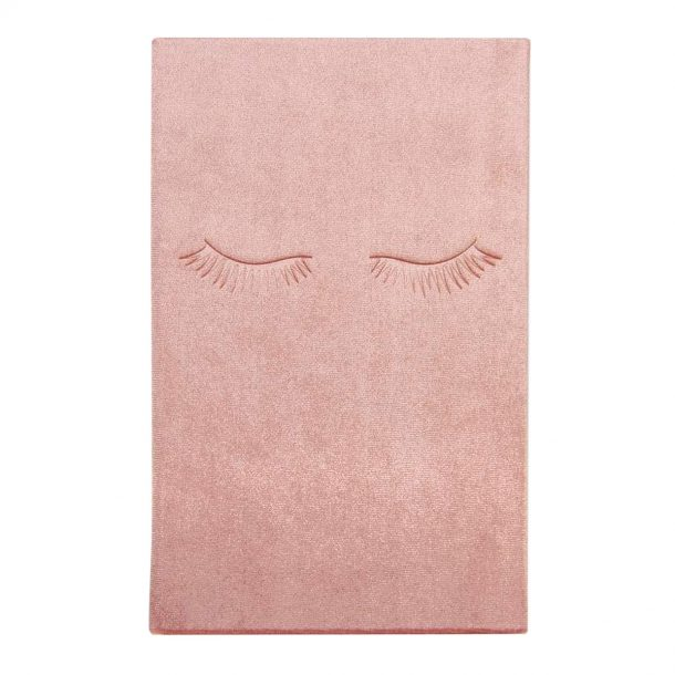 Blush Velvet Notebook with eyelashes on the cover