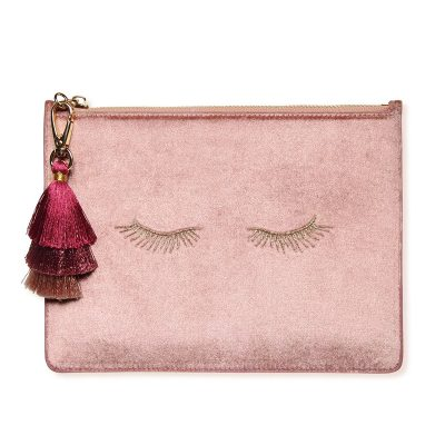 EVERY OTHER WAY Blush Velvet Tassel Clutch