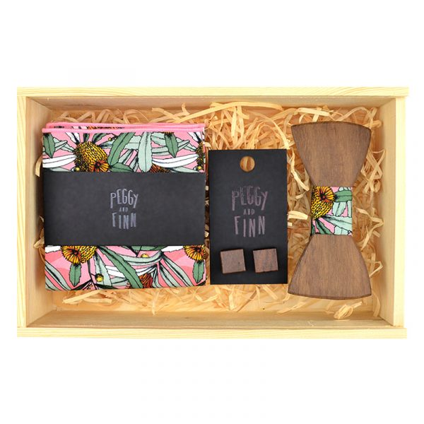 Pink Banksia Wooden Bow Tie Gift Box