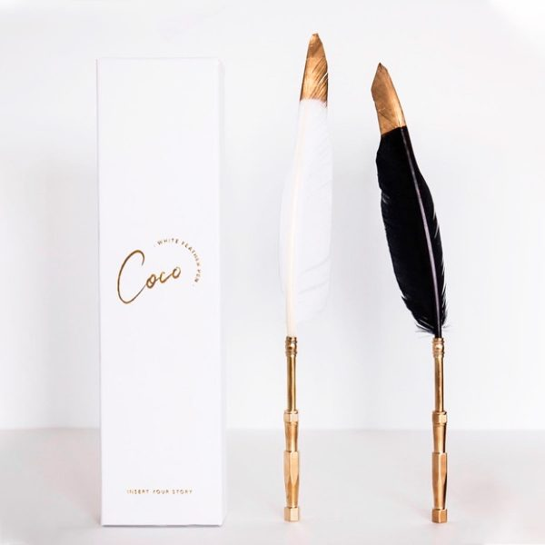 Skye and Coco Feather Pen + Stand