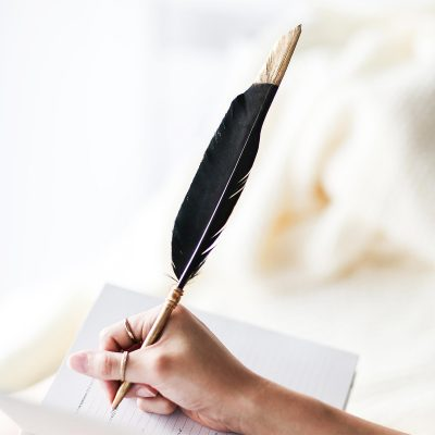 AXEL & ASH Skye Feather Pen + Stand