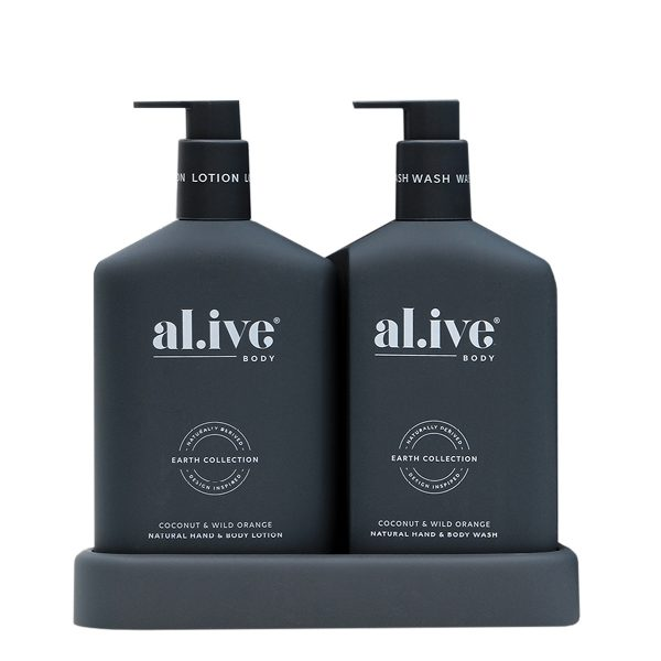 AL.IVE Coconut Wild Orange Wash and Lotion Gift Duo with tray