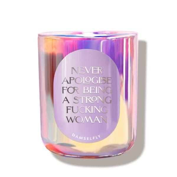 Strong Fucking Woman Rainbow Damselfly Candle